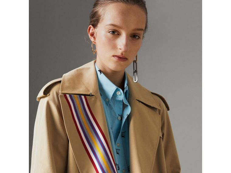 Collegiate Stripe Cotton Gabardine Trench Coat in Honey - Women | Burberry United Kingdom - cell image 1