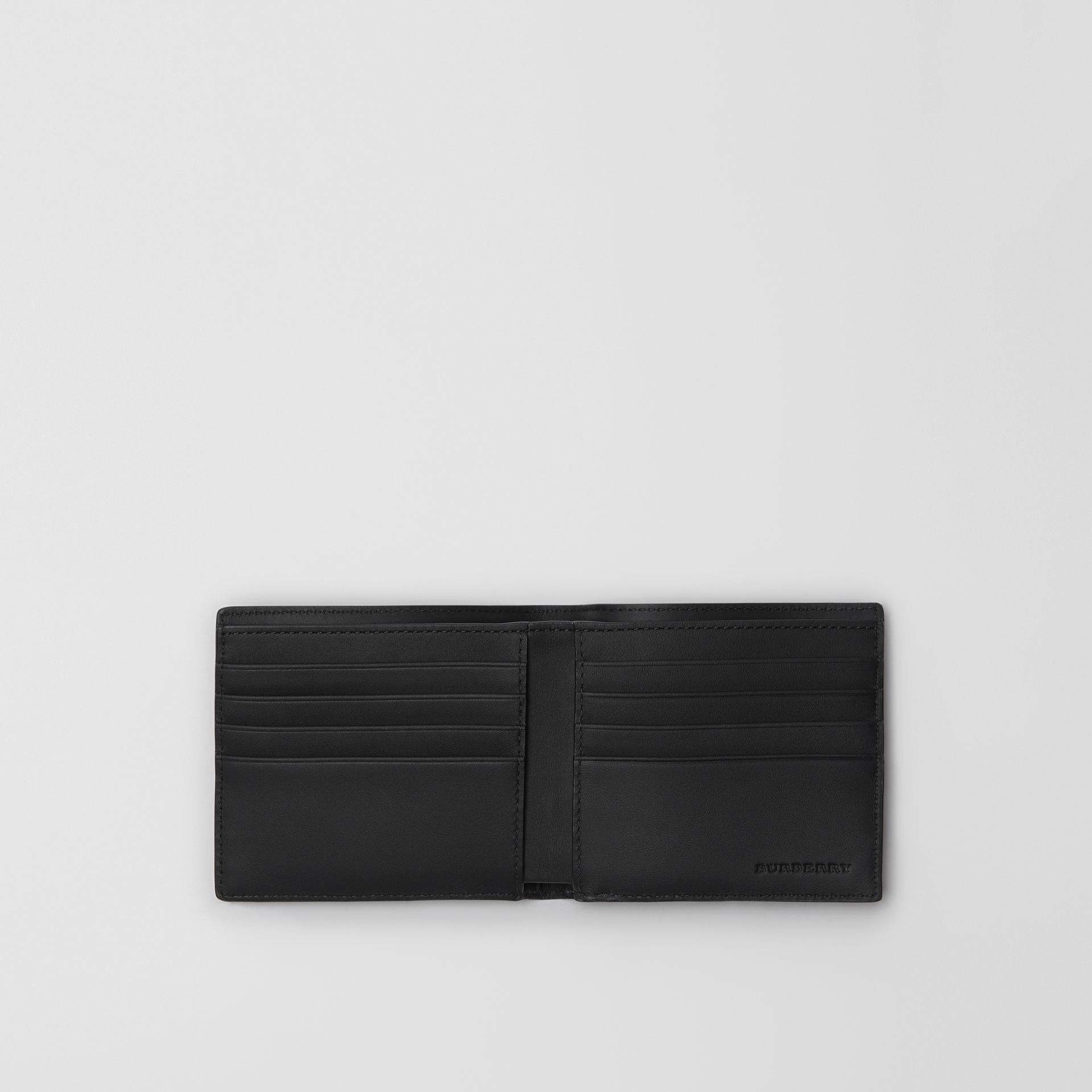 London Check and Leather International Bifold Wallet in Navy/black - Men | Burberry United Kingdom - gallery image 2