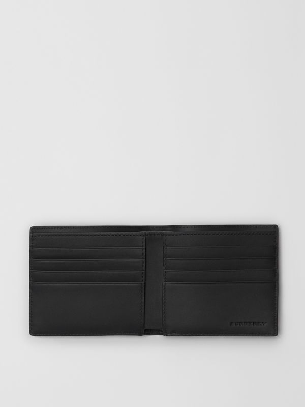 London Check and Leather International Bifold Wallet in Navy/black - Men | Burberry United Kingdom - cell image 2