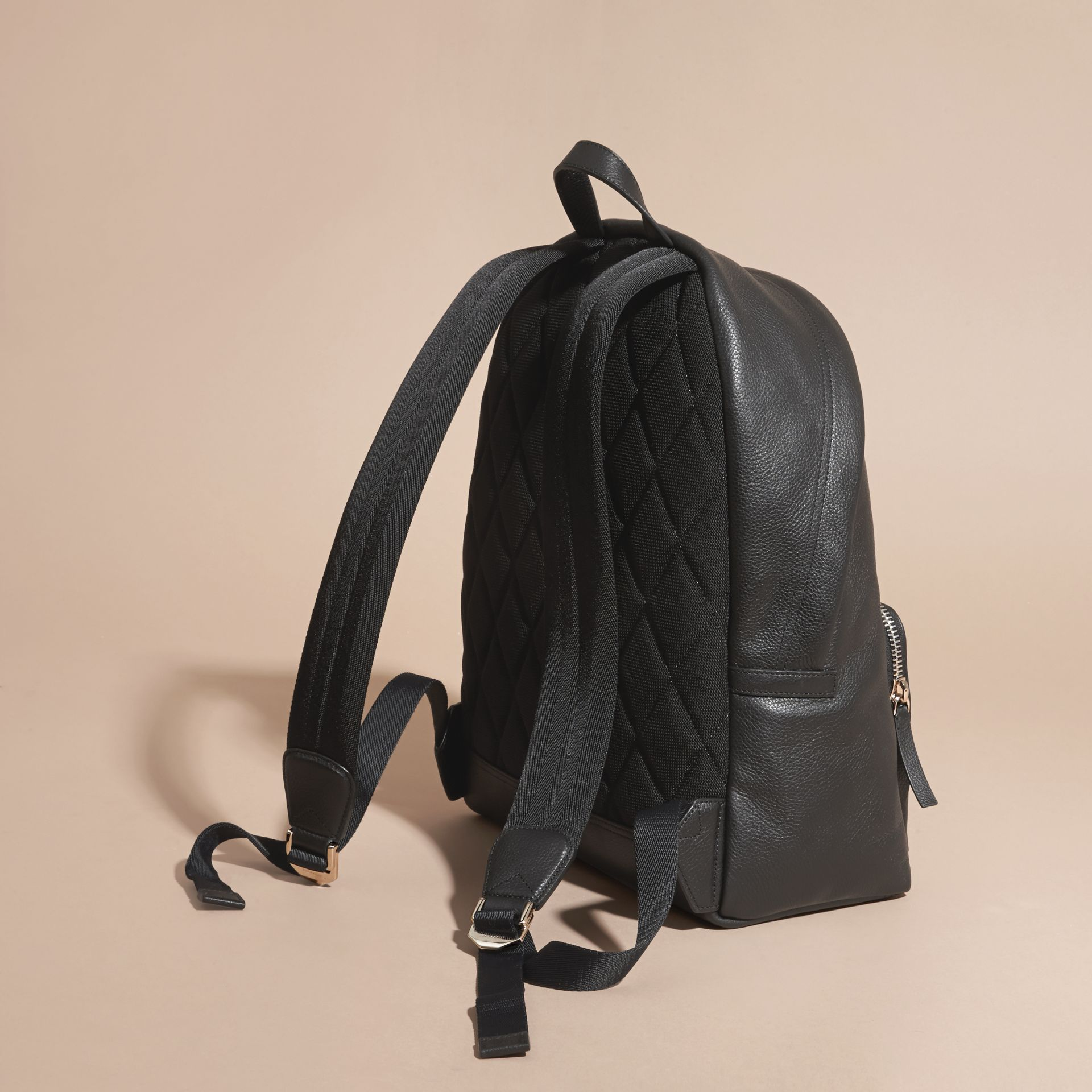 Black Grainy Leather Backpack - gallery image 4