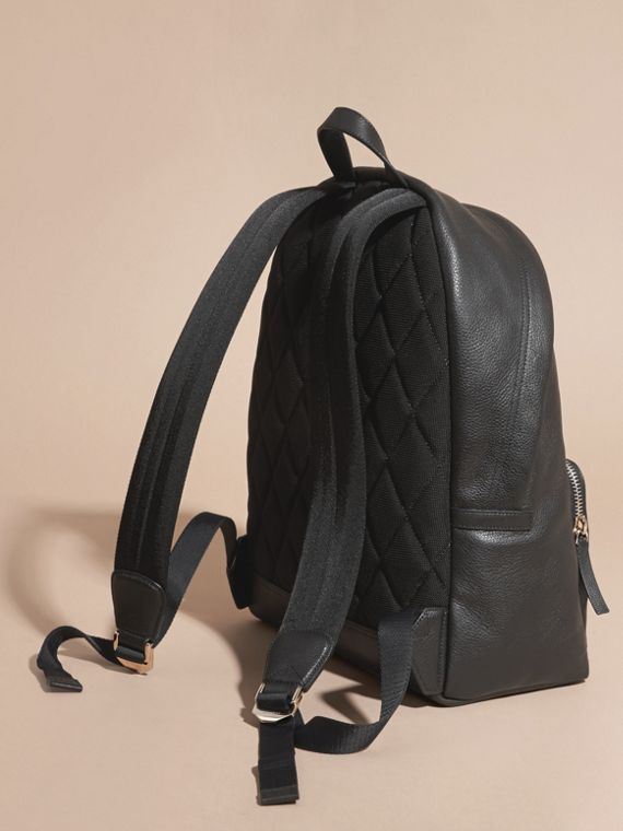 Black Grainy Leather Backpack - cell image 3