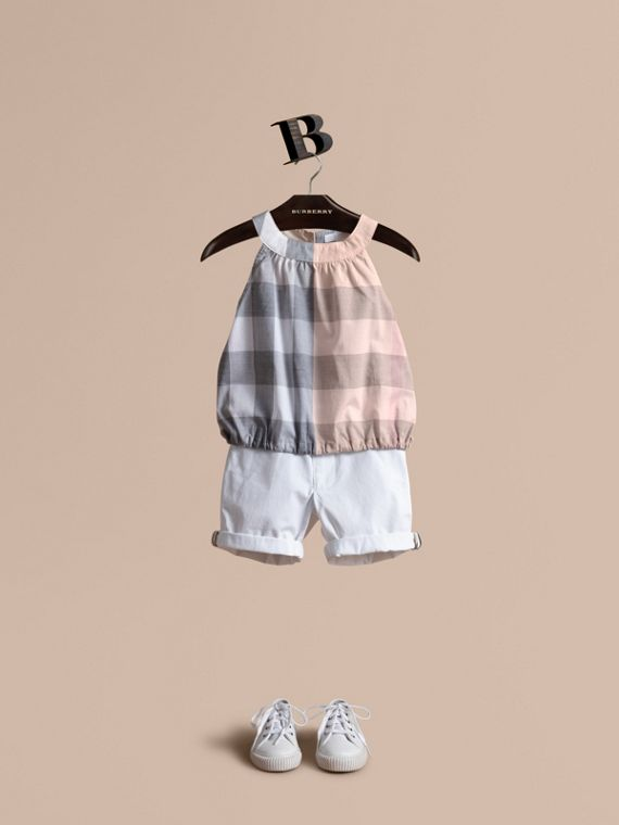 Gathered Check Cotton Top in Apricot - Girl | Burberry