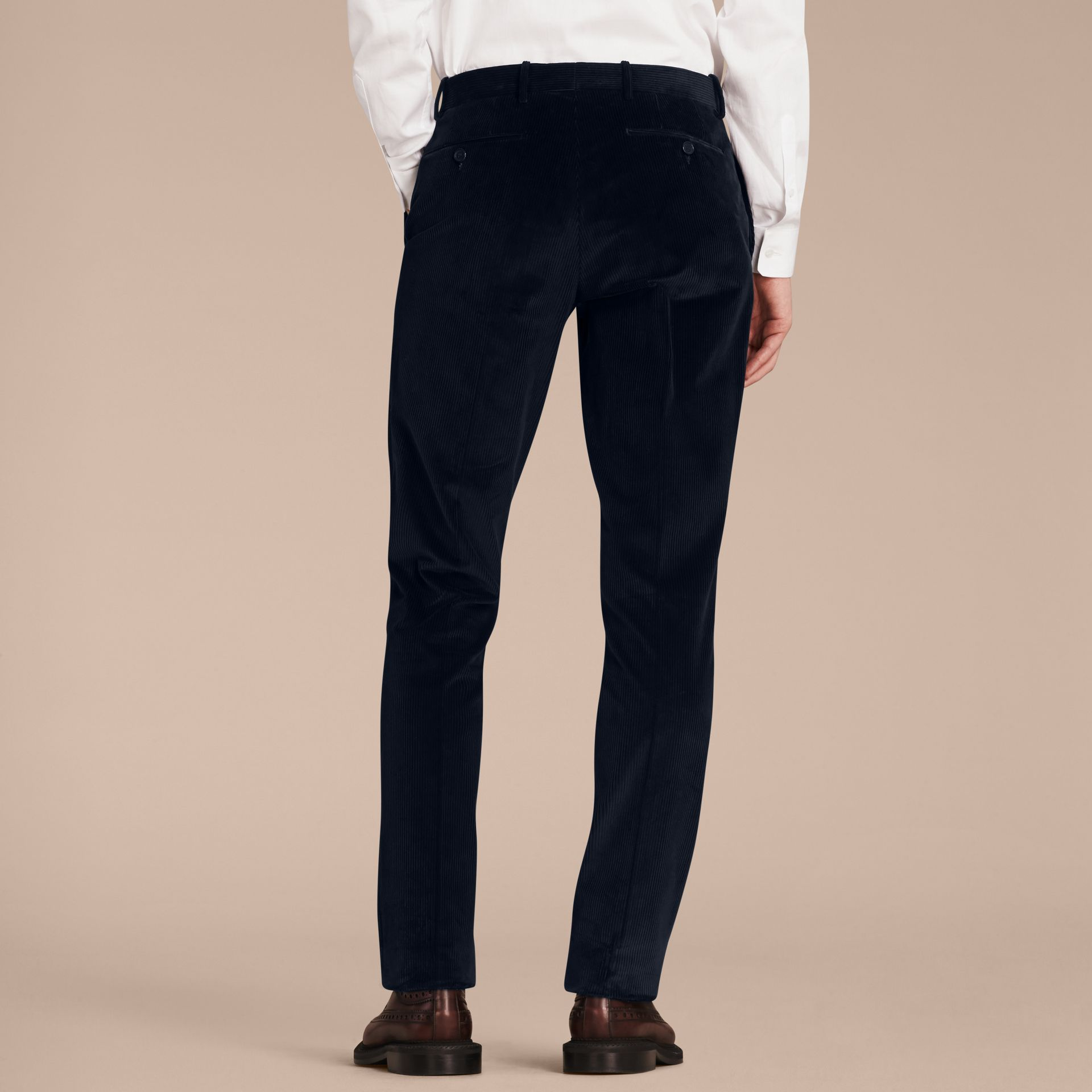 Navy Slim Fit Cotton Corduroy Trousers Navy - gallery image 3