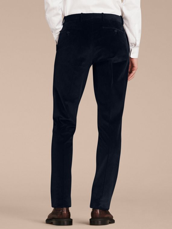 Navy Slim Fit Cotton Corduroy Trousers Navy - cell image 2