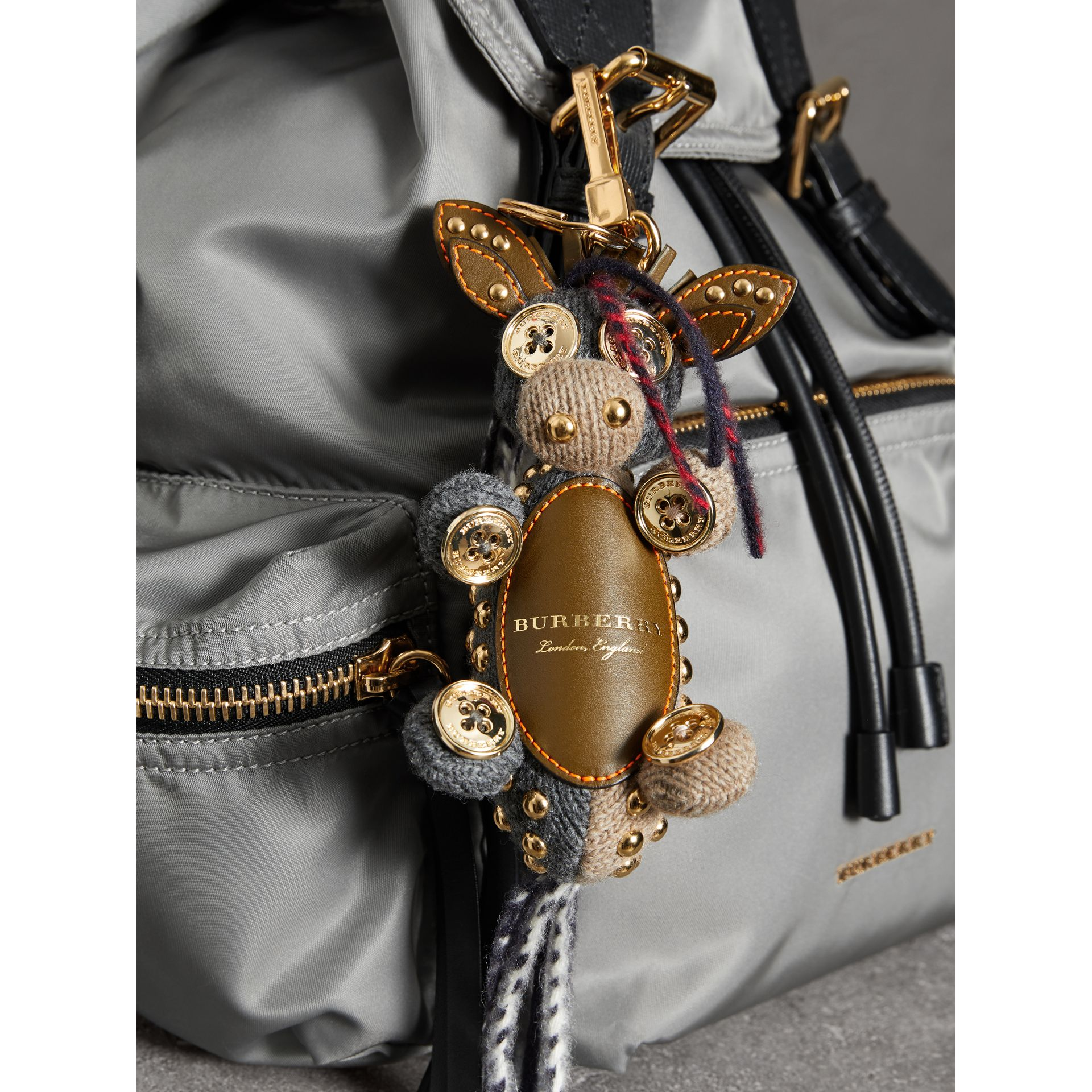 Mabel The Donkey Wool Charm in Sand Multicolour | Burberry - gallery image 2