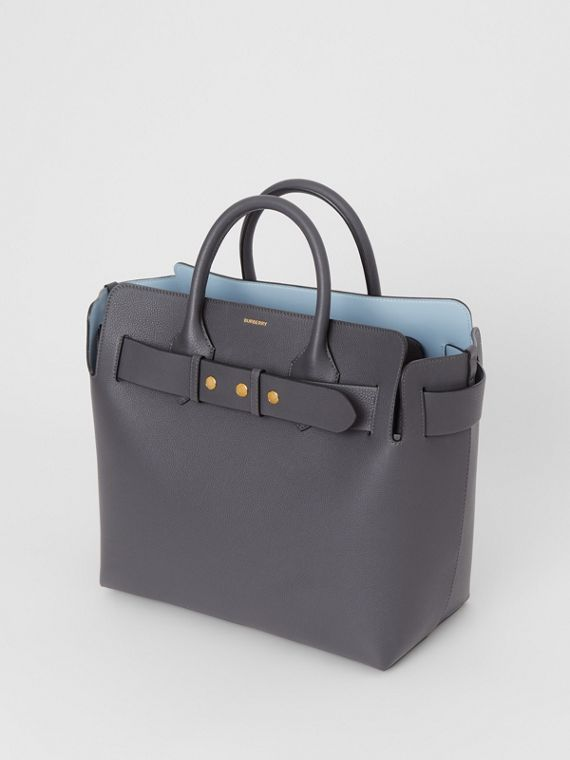 The Medium Leather Triple Stud Belt Bag in Charcoal Grey