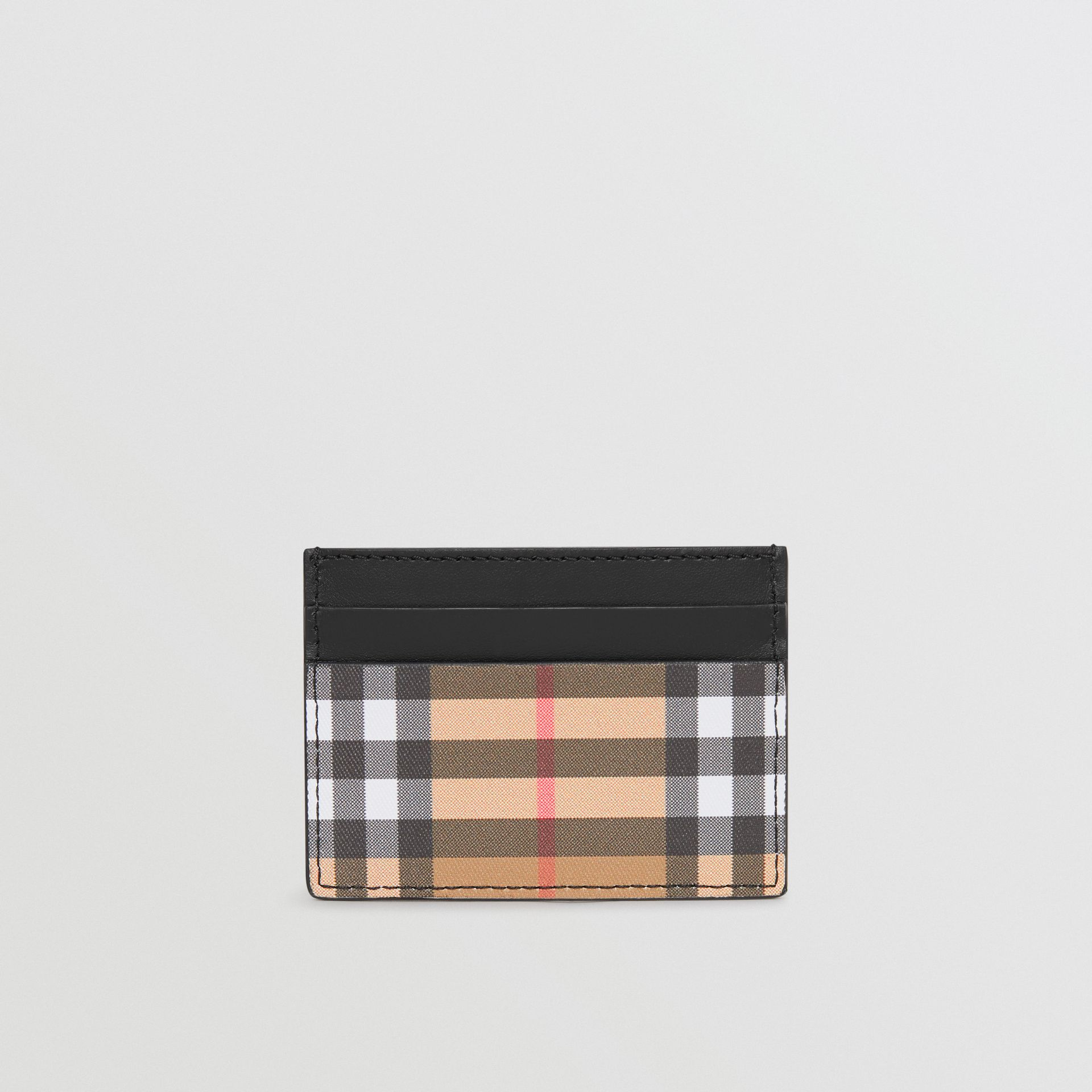 Vintage Check and Leather Card Case in Black | Burberry United Kingdom - gallery image 2