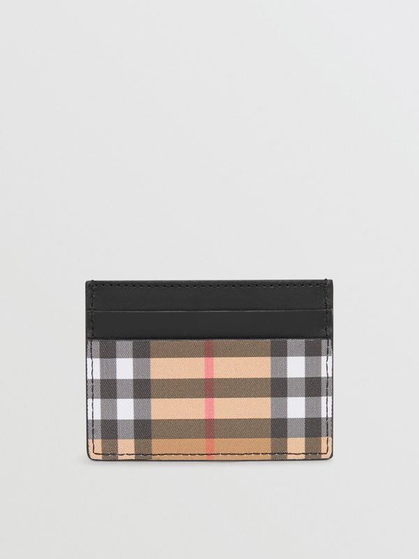 Vintage Check and Leather Card Case in Black - Men | Burberry United States - cell image 2