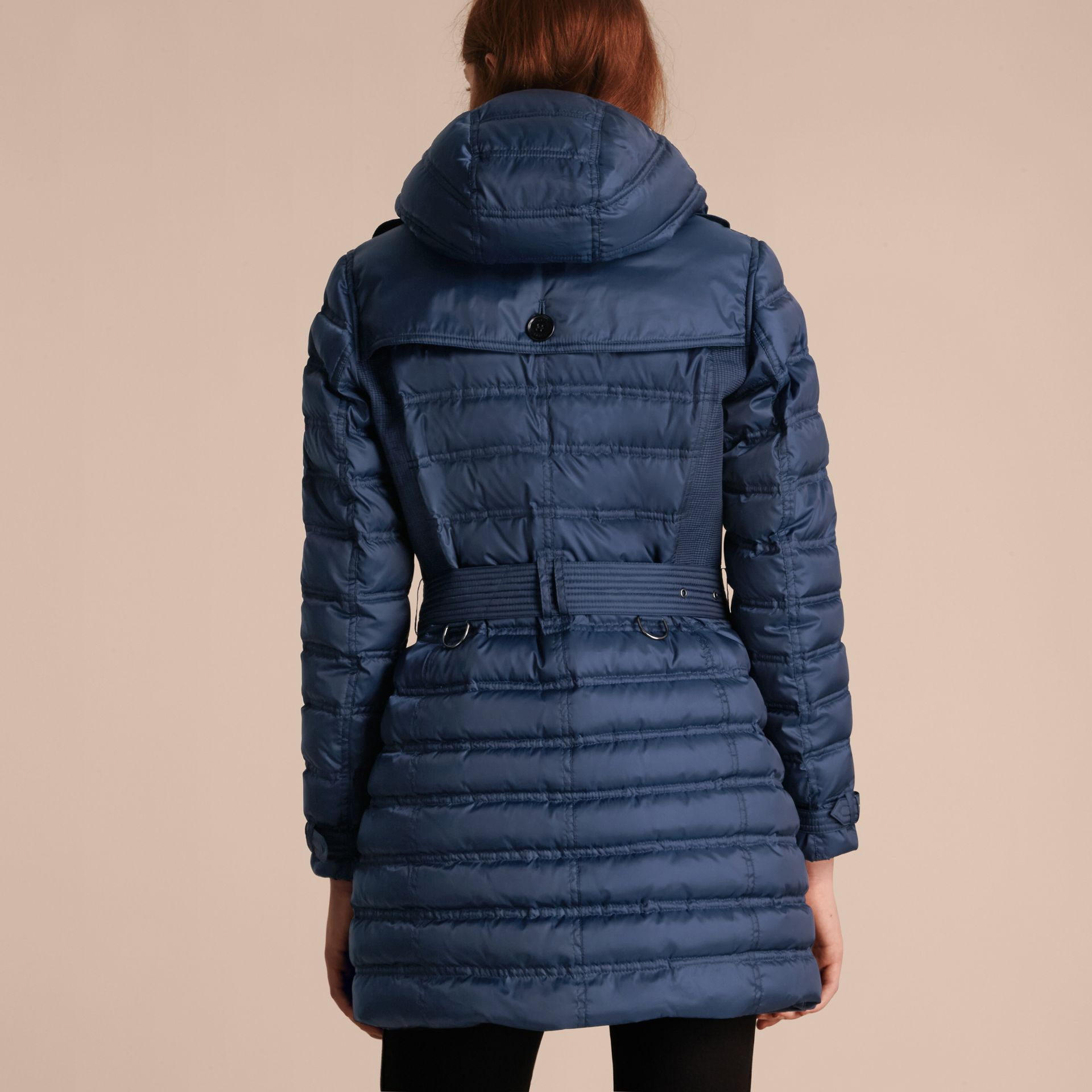 Down-filled Puffer Coat in Bright Navy - gallery image 3