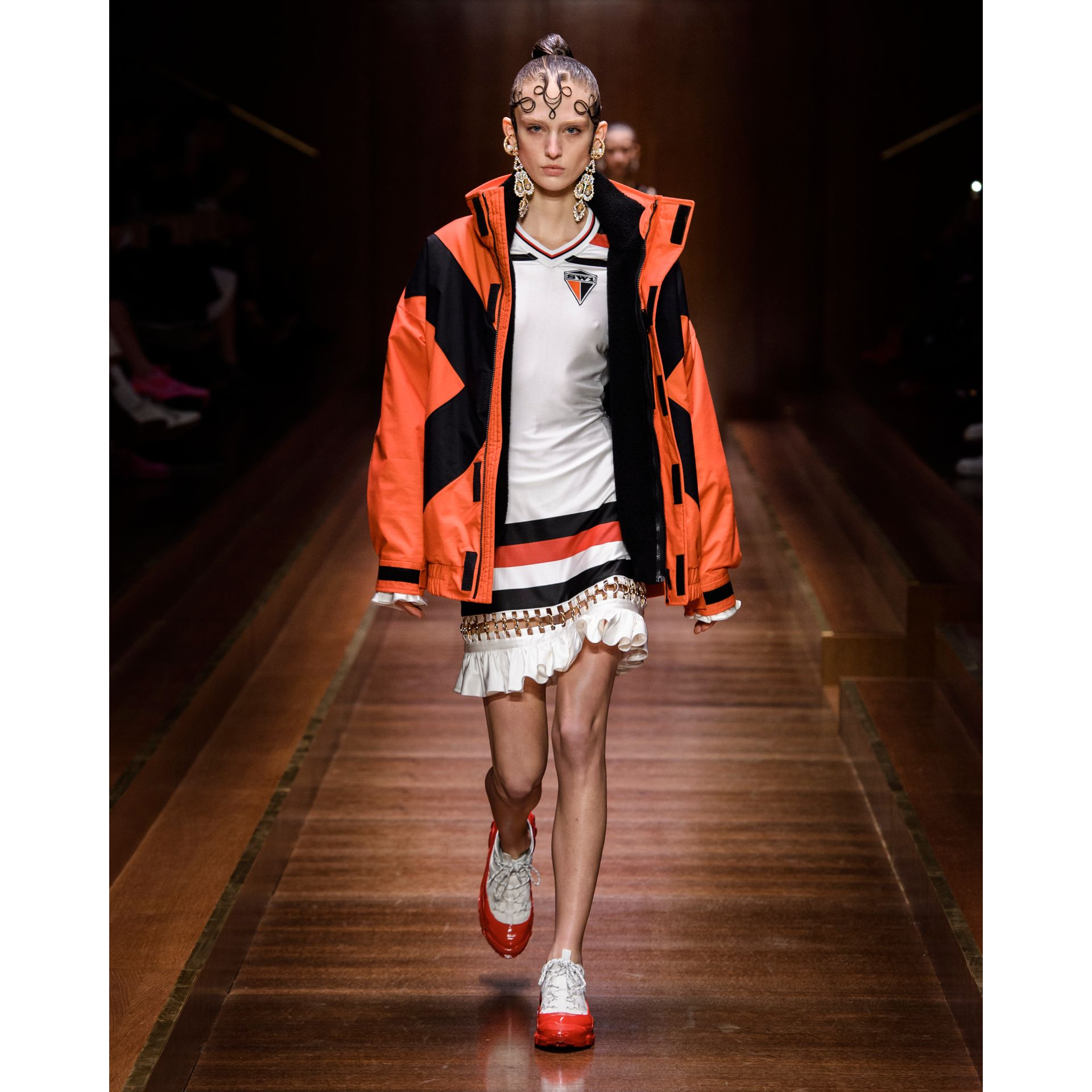 Panelled Nylon Track Jacket with Detachable Warmer in Bright Orange - Women | Burberry - gallery image 6