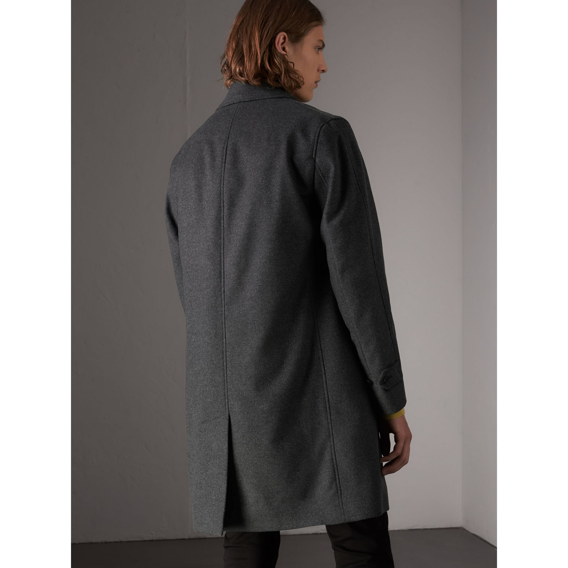 Wool Cashmere Blend Car Coat with Detachable Gilet in Dark Grey Melange - Men | Burberry - gallery image 2