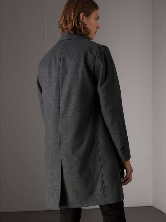 Wool Cashmere Blend Car Coat with Detachable Gilet in Dark Grey Melange - Men | Burberry Australia - cell image 2