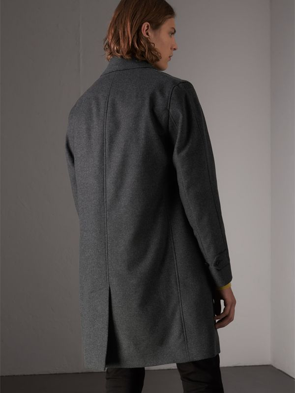 Wool Cashmere Blend Car Coat with Detachable Gilet in Dark Grey Melange - Men | Burberry - cell image 2
