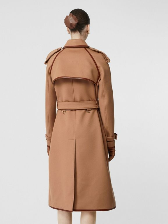 Button Panel Detail Wool Cashmere Trench Coat in Camel - Women | Burberry United Kingdom - cell image 1