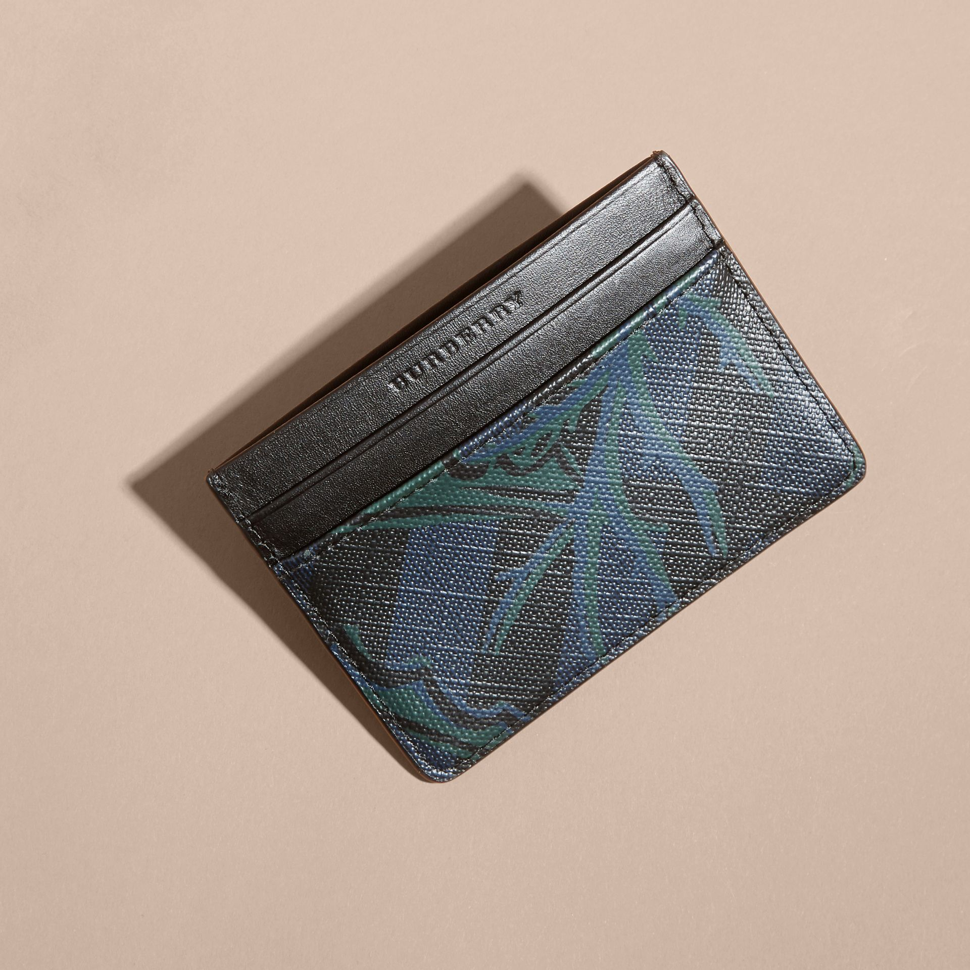 Floral Print London Check Card Case Navy - gallery image 3