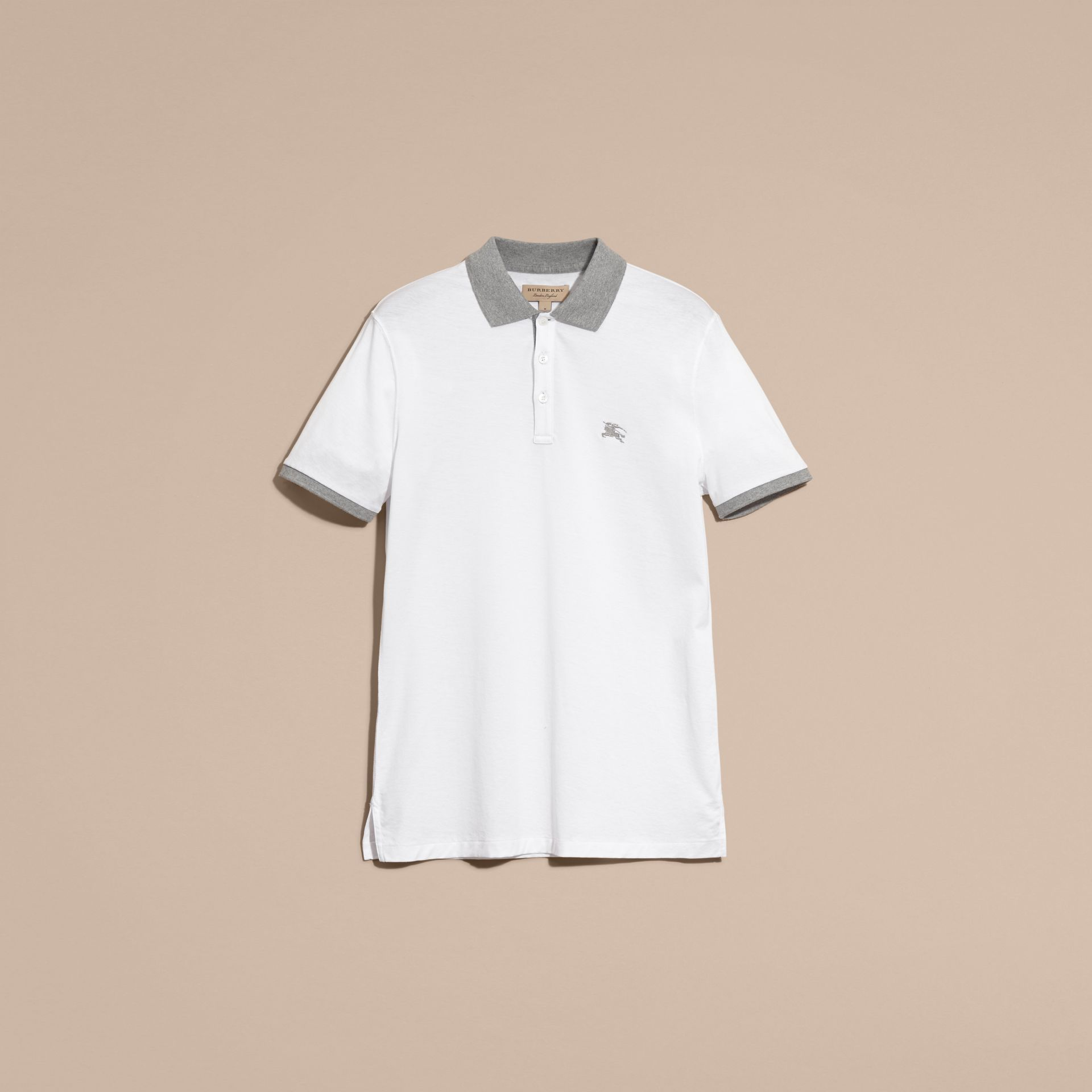 White Fitted Cotton Polo Shirt with Tonal Trim White - gallery image 4