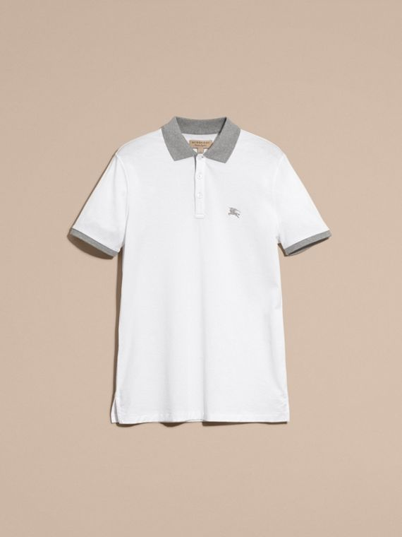 White Fitted Cotton Polo Shirt with Tonal Trim White - cell image 3