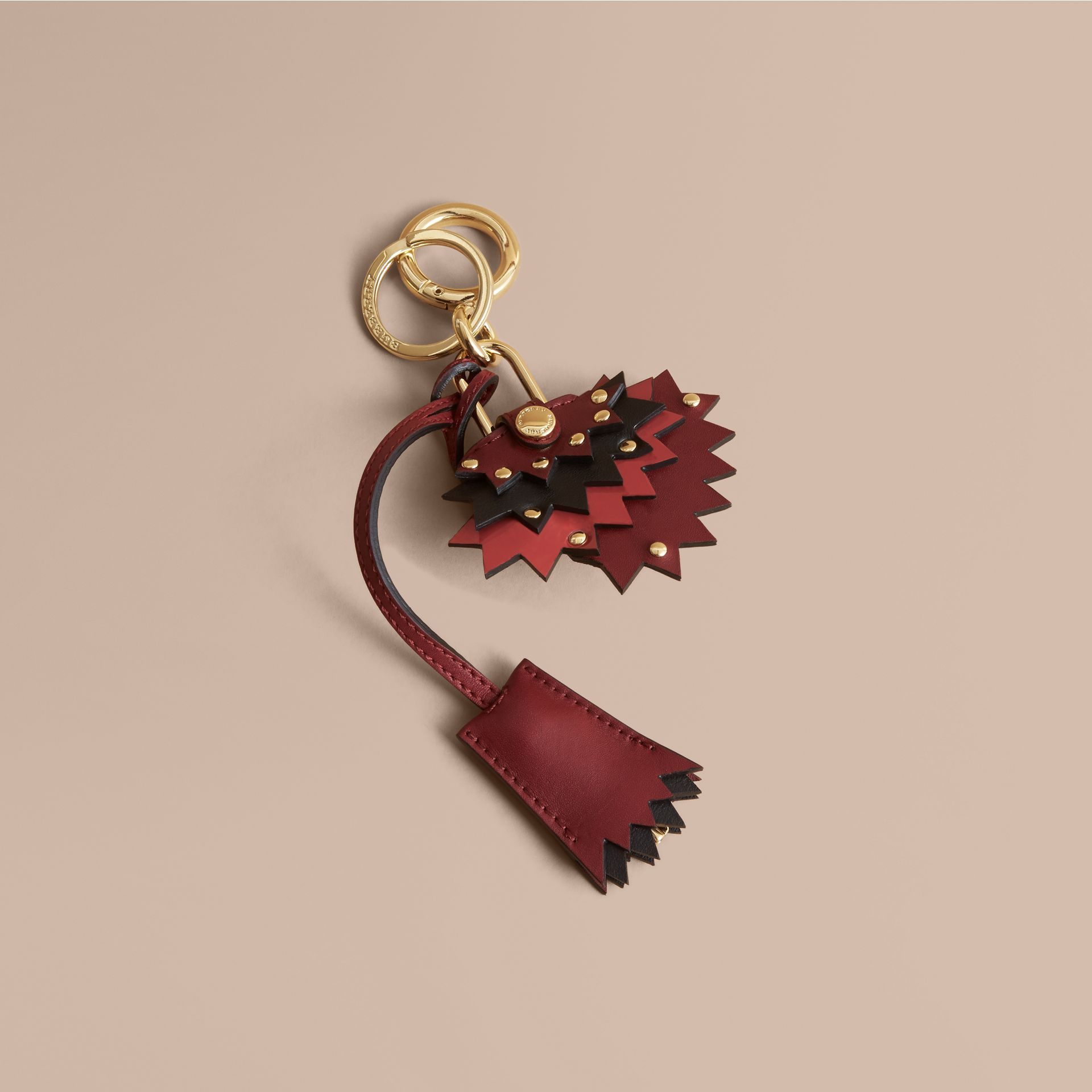 Beasts Leather Key Charm and Padlock in Crimson Red - Women | Burberry - gallery image 1