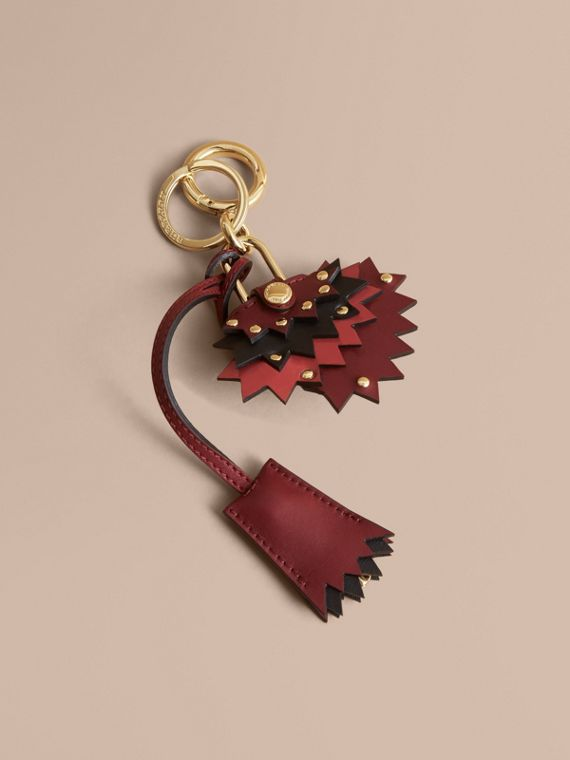 Beasts Leather Key Charm and Padlock in Crimson Red