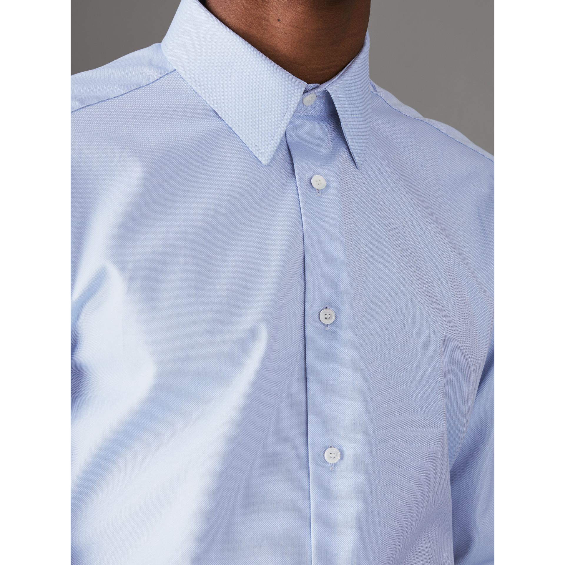 Modern Fit Cotton Shirt in Mid Blue - Men | Burberry United Kingdom - gallery image 1