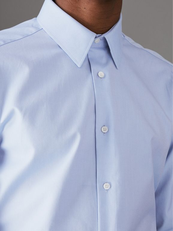 Modern Fit Cotton Shirt in Mid Blue - Men | Burberry United Kingdom - cell image 1