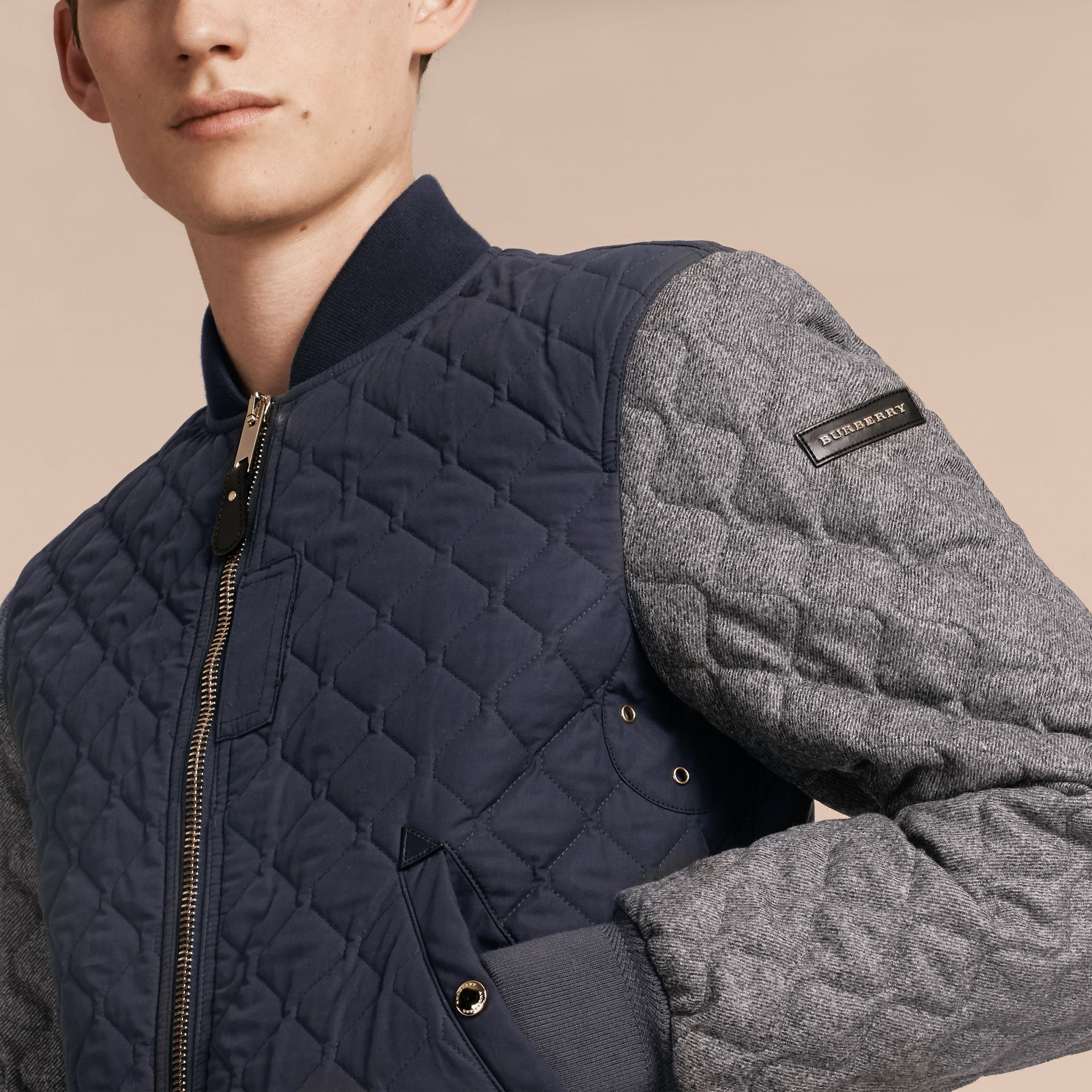Navy Quilted Cotton and Wool Bomber Jacket - gallery image 5