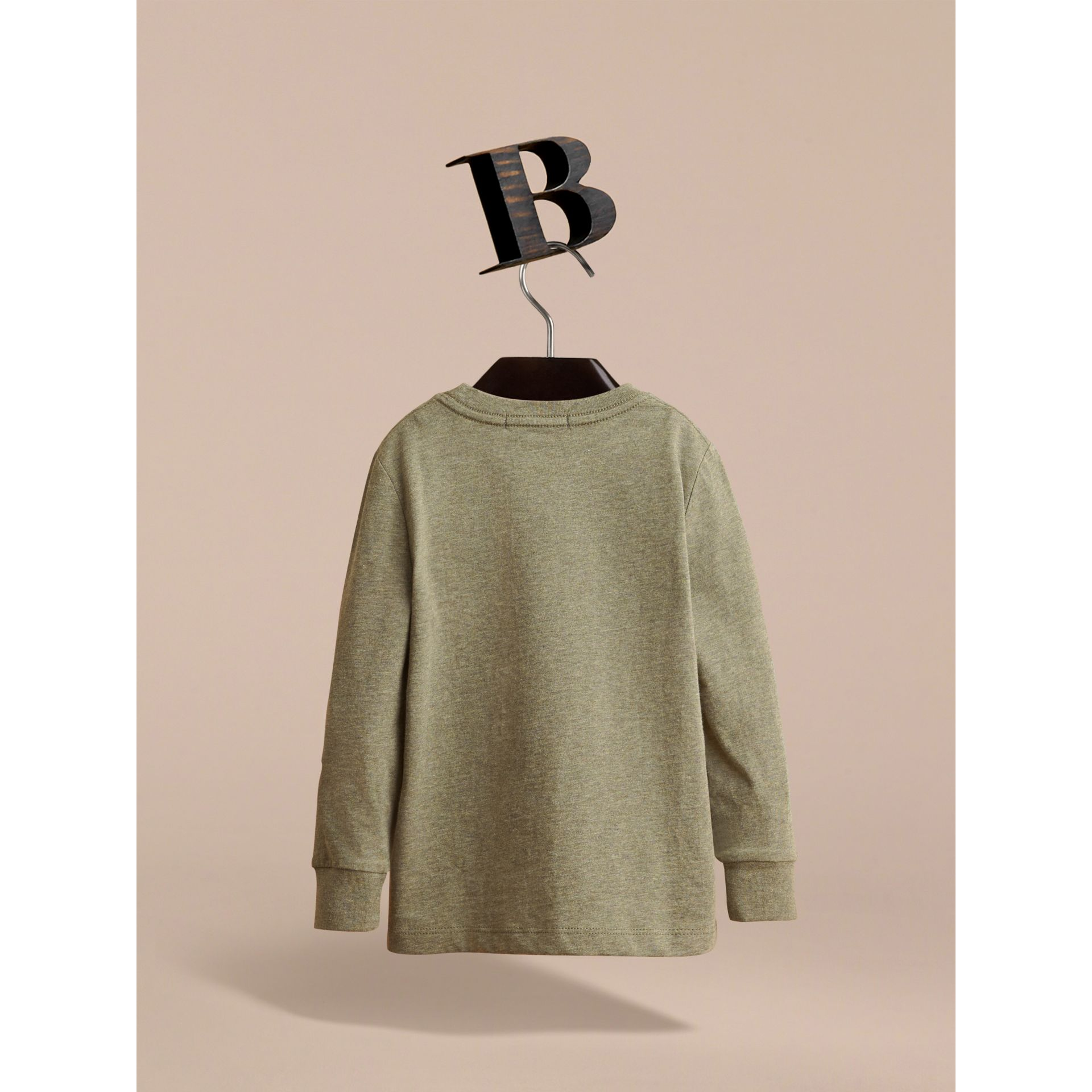 Long-sleeve Check Pocket Cotton T-shirt in Khaki Green Melange - Boy | Burberry - gallery image 4