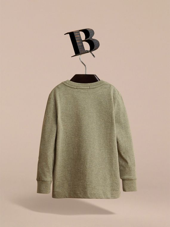 Long-sleeve Check Pocket Cotton T-shirt in Khaki Green Melange - Boy | Burberry - cell image 3