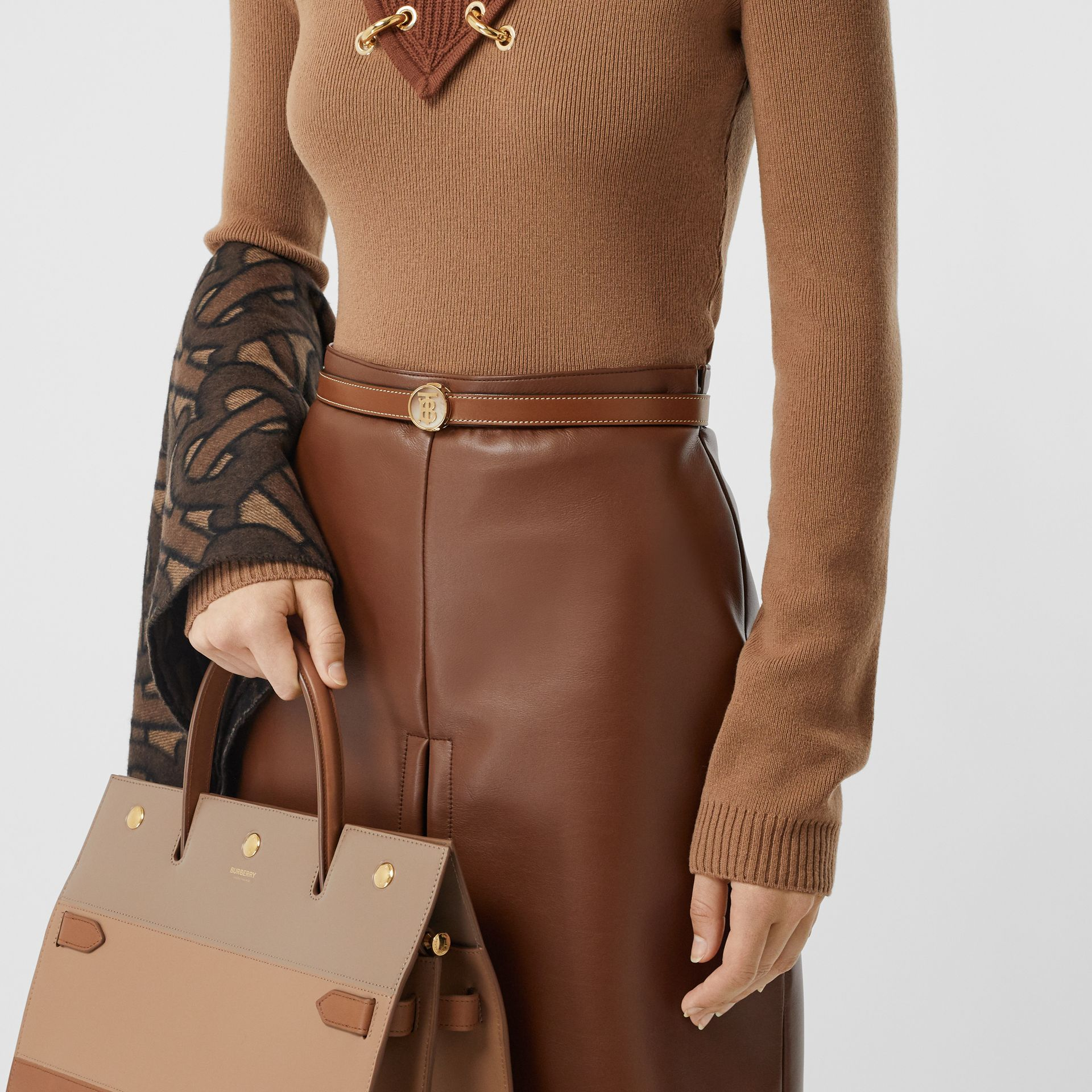 Monogram Motif Leather Belt in Tan - Women | Burberry - gallery image 2