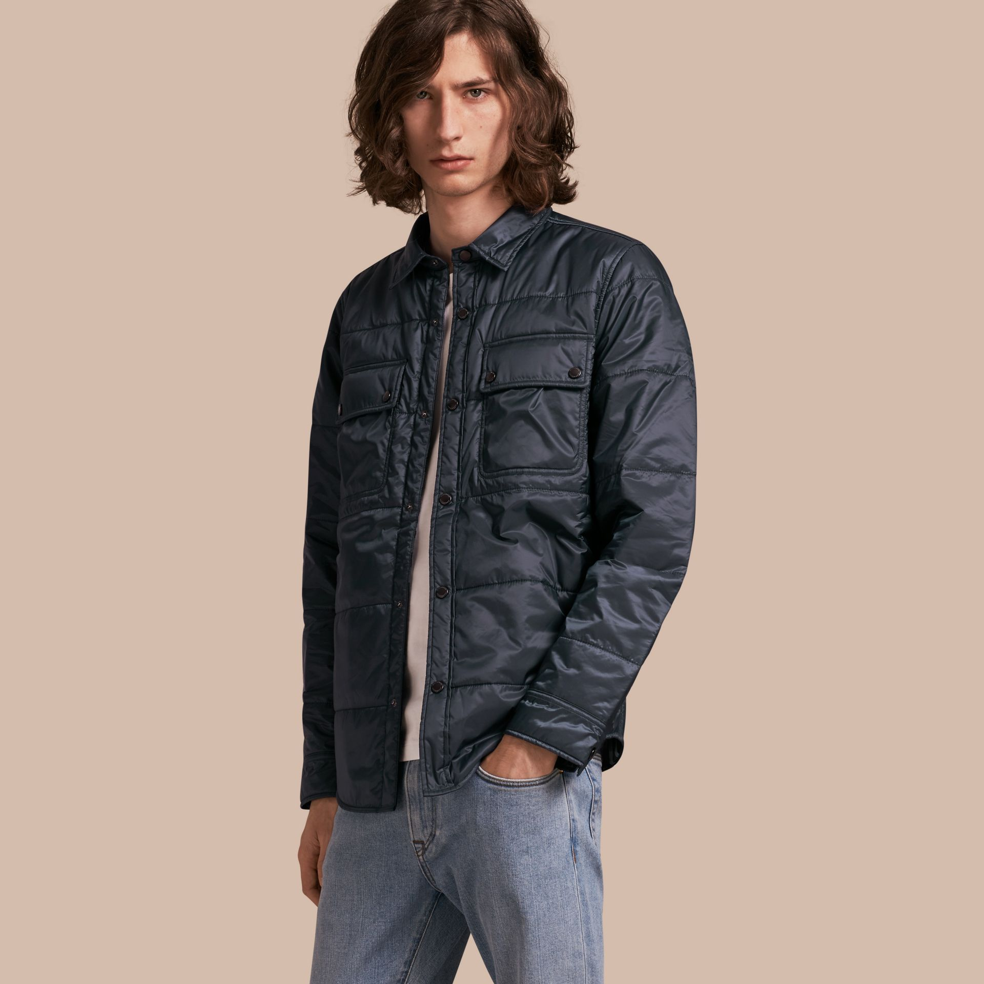 Navy Quilted Technical Shirt - gallery image 1