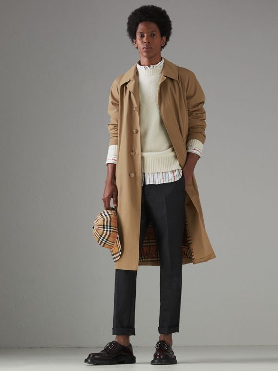 Cotton Gabardine Car Coat in Camel
