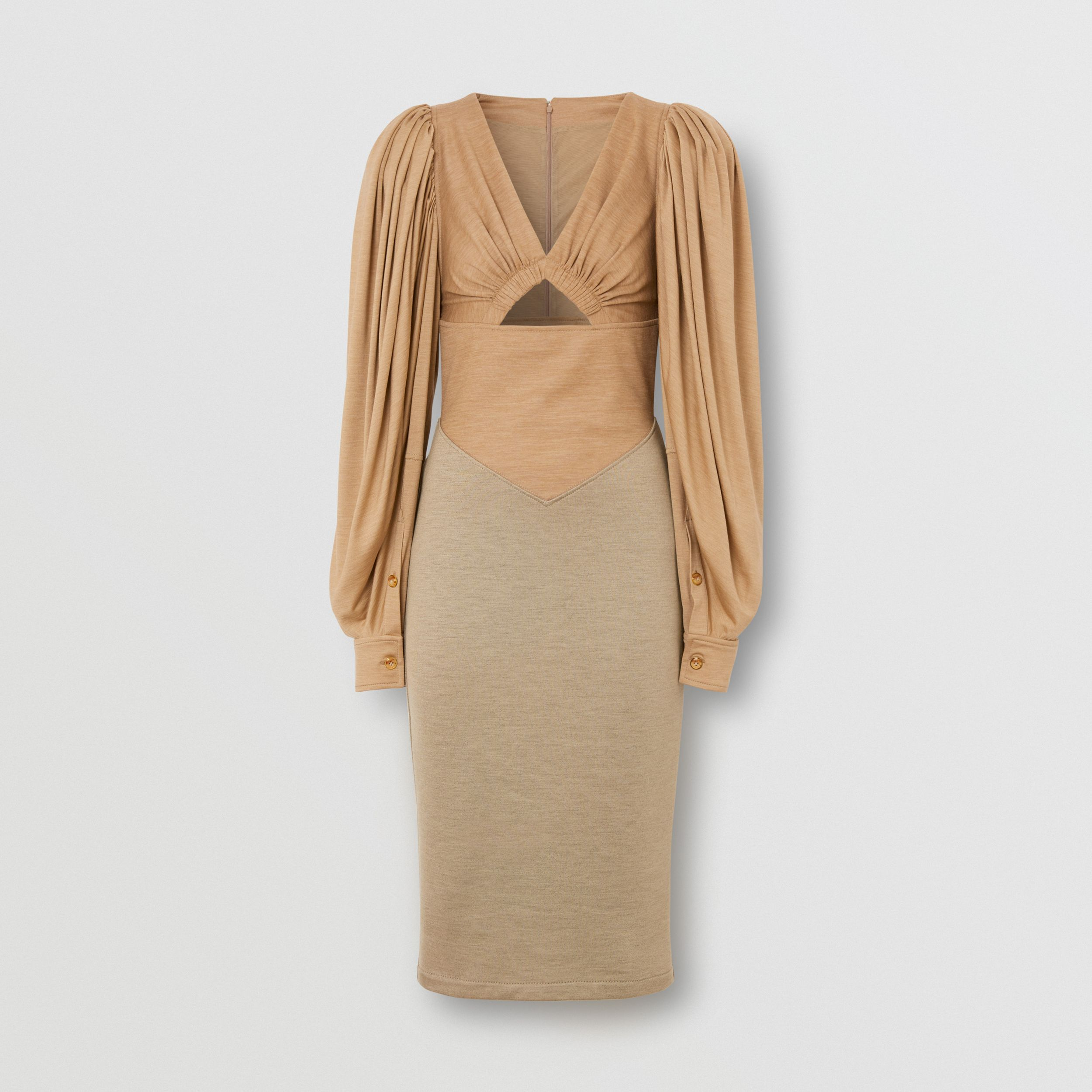 Panelled Wool Silk Jersey Dress in Pecan Melange - Women | Burberry - 3