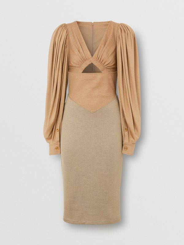 Panelled Wool Silk Jersey Dress in Pecan Melange - Women | Burberry - cell image 2