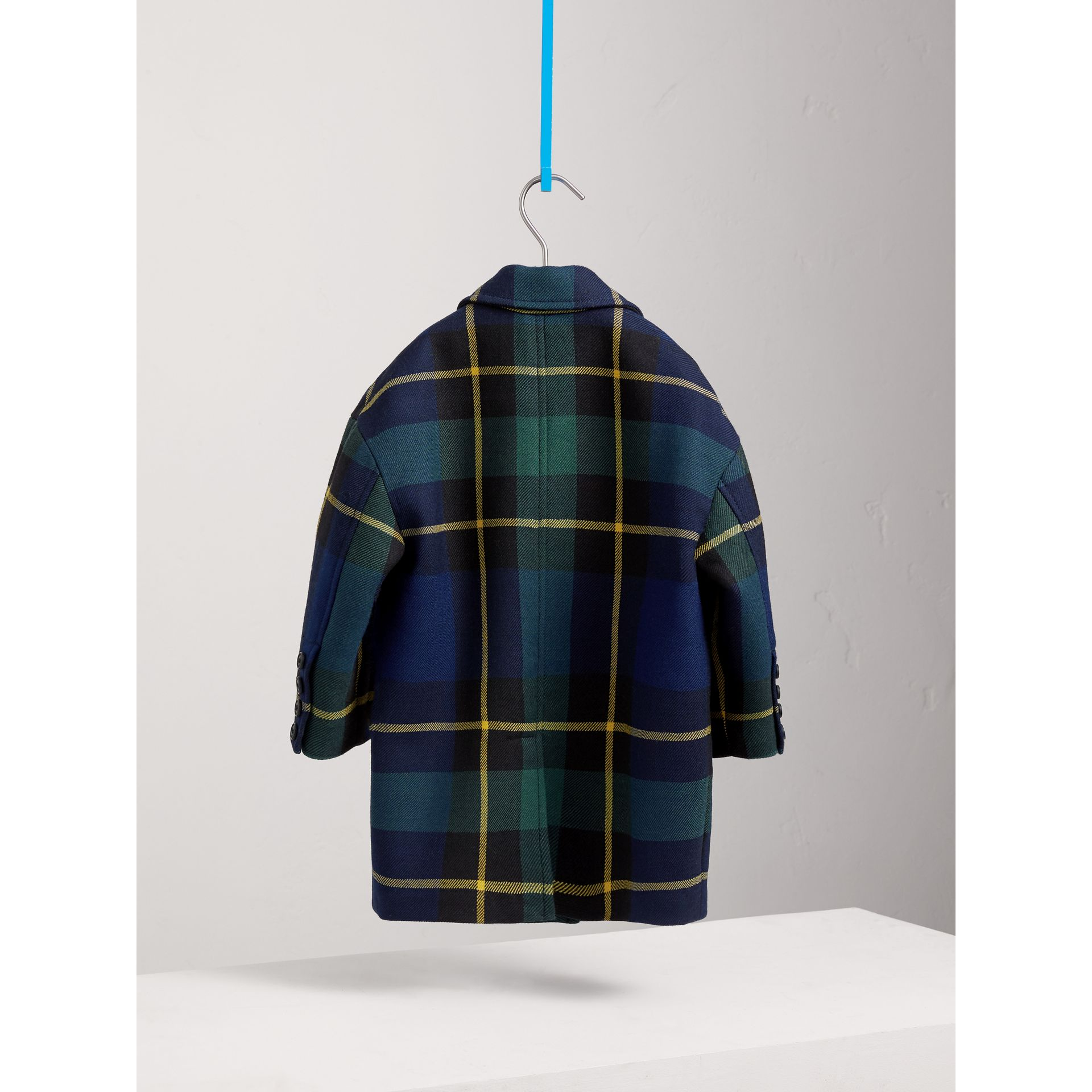 Tartan Wool Coat in Pine Green - Girl | Burberry - gallery image 4