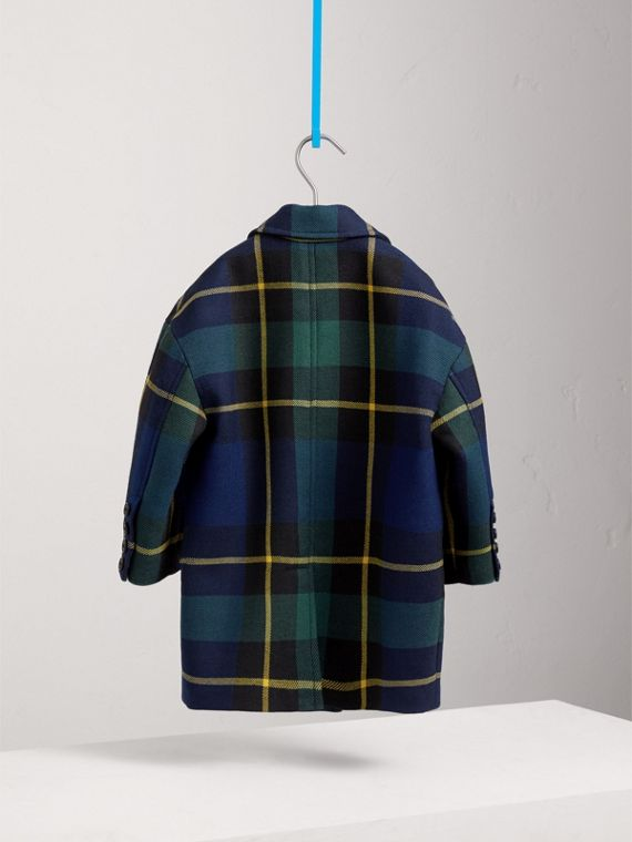 Tartan Wool Coat in Pine Green - Girl | Burberry - cell image 3