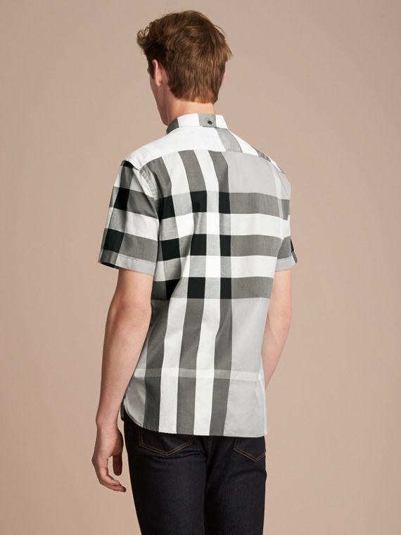 Button-down Collar Short-sleeve Check Cotton Shirt in Light Grey - Men | Burberry - cell image 2