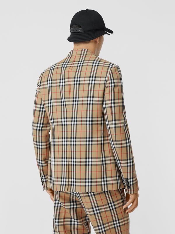 Slim Fit Vintage Check Wool Mohair Tailored Jacket in Archive Beige - Men | Burberry United Kingdom - cell image 2