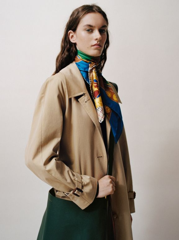 Patchwork Archive Scarf Print Silk Square Scarf in Multicolour | Burberry - cell image 1