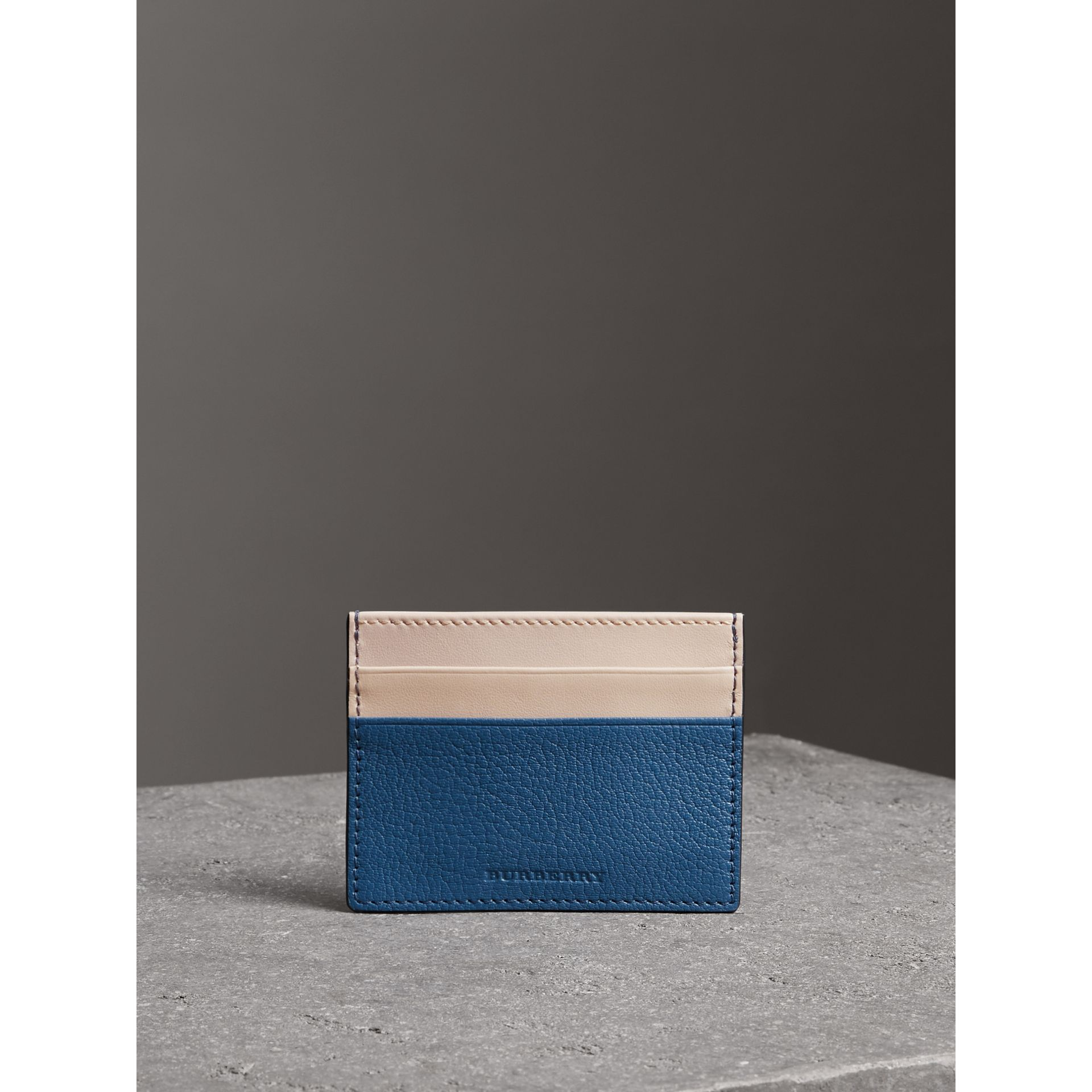 Two-tone Leather Card Case in Peacock Blue | Burberry - gallery image 3