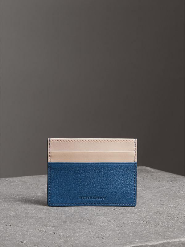 Two-tone Leather Card Case in Peacock Blue | Burberry - cell image 3
