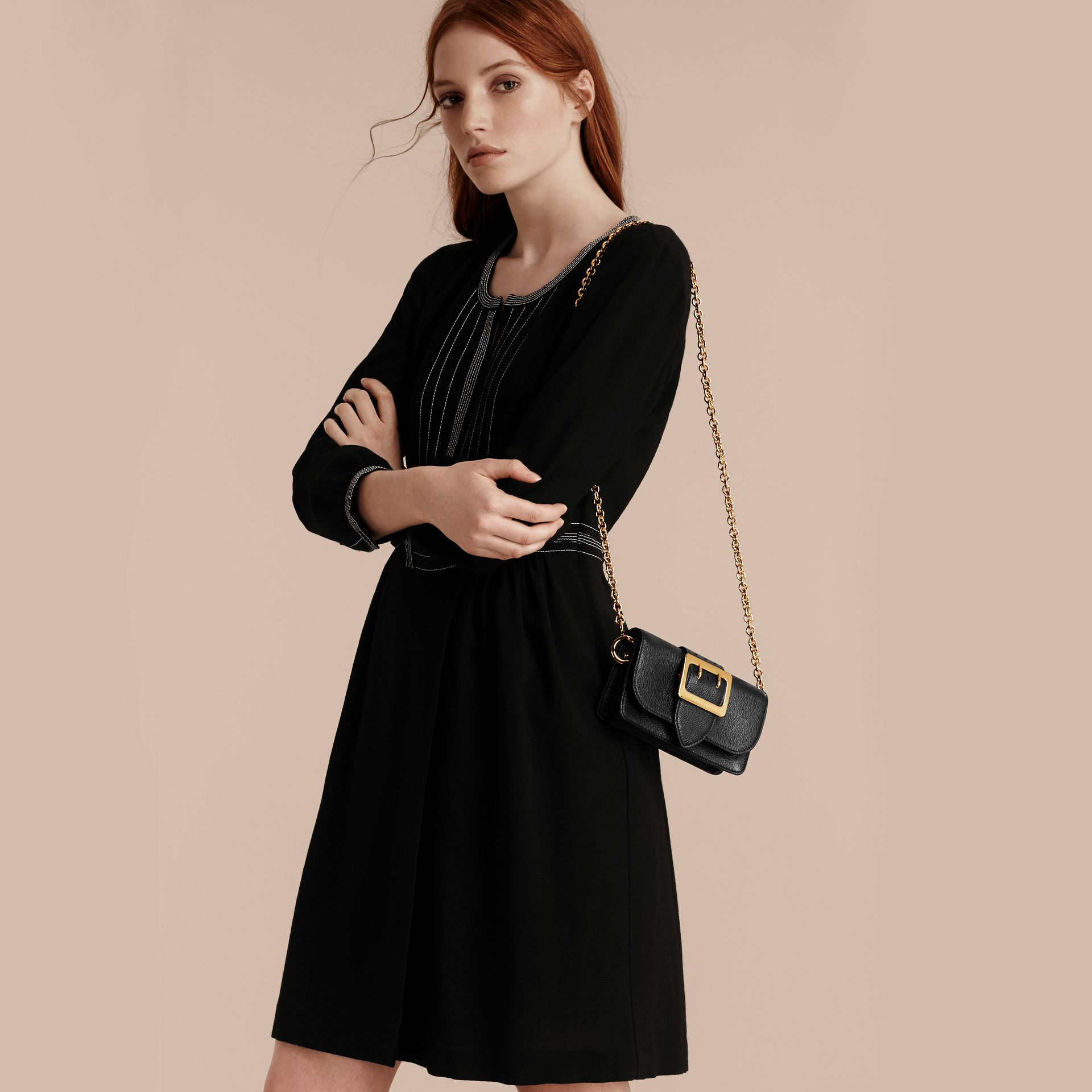 Black The Mini Buckle Bag in Grainy Leather Black - gallery image 3