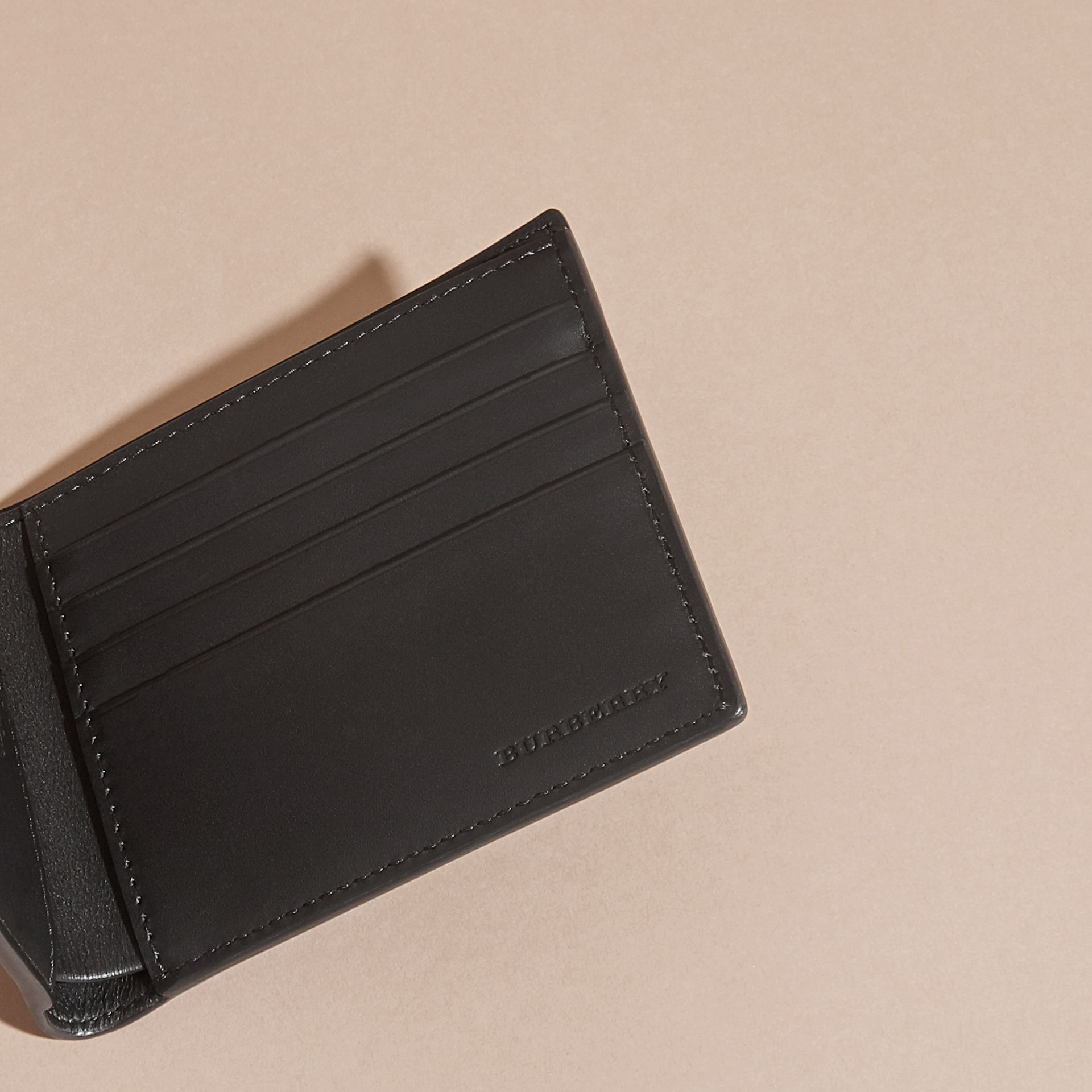Black Patchwork London Leather Folding Wallet Black - gallery image 5