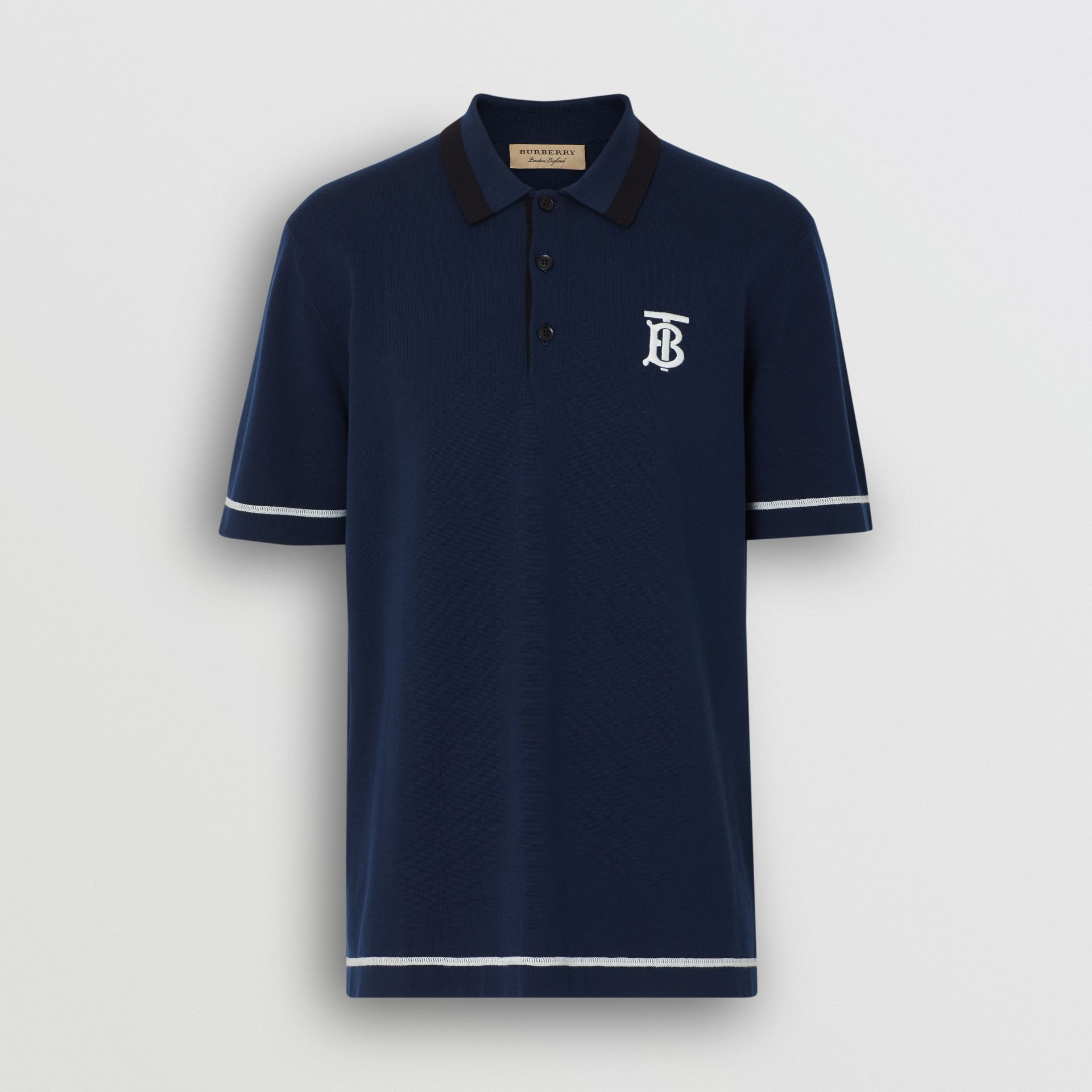 Monogram Motif Tipped Cotton Polo Shirt in Navy - Men | Burberry - gallery image 3