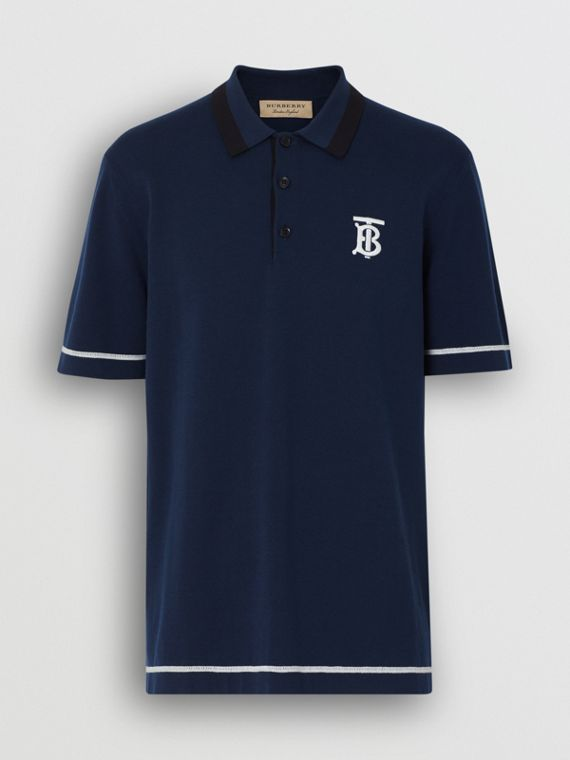 Monogram Motif Tipped Cotton Polo Shirt in Navy