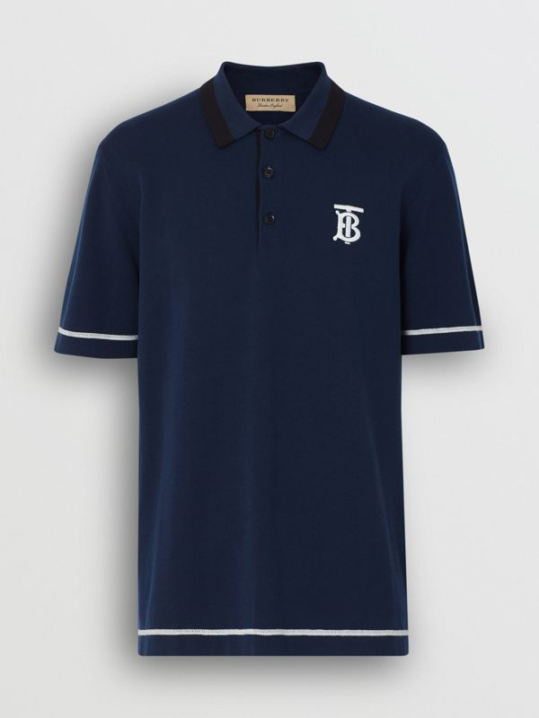 Monogram Motif Tipped Cotton Polo Shirt in Navy - Men | Burberry - cell image 3