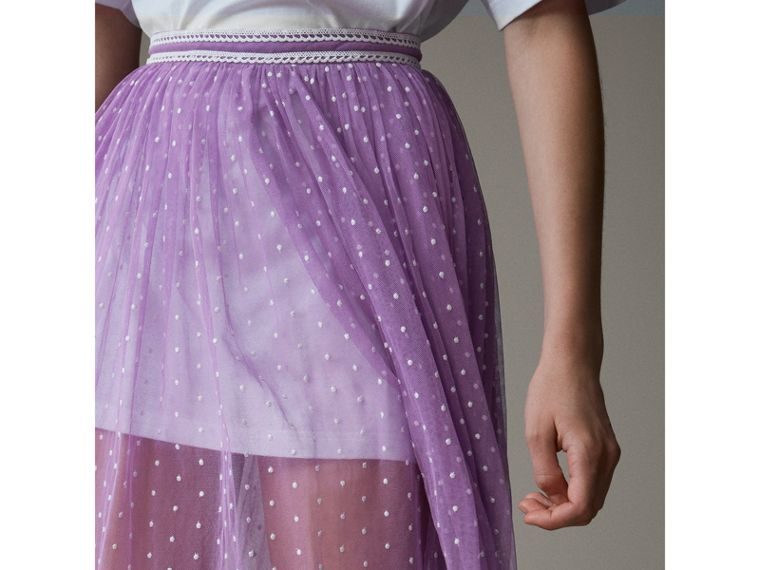Floor-length Flocked Cotton Tulle Skirt in Lilac/white - Women | Burberry - cell image 1