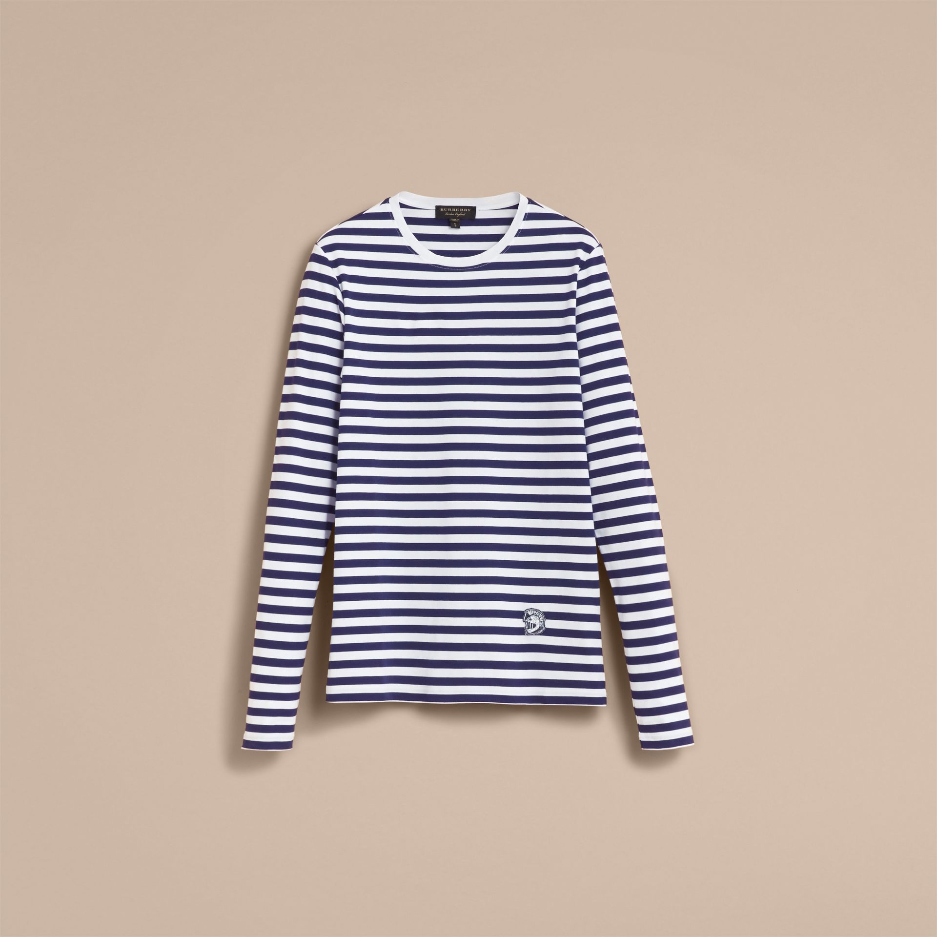 Unisex Pallas Helmet Motif Breton Stripe Cotton Top - Women | Burberry - gallery image 4