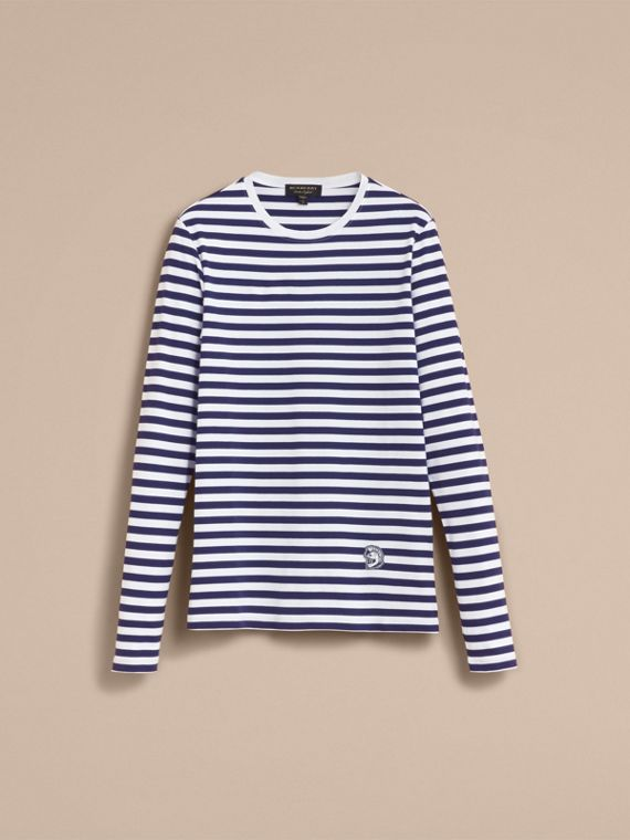 Unisex Pallas Helmet Motif Breton Stripe Cotton Top - Women | Burberry - cell image 3