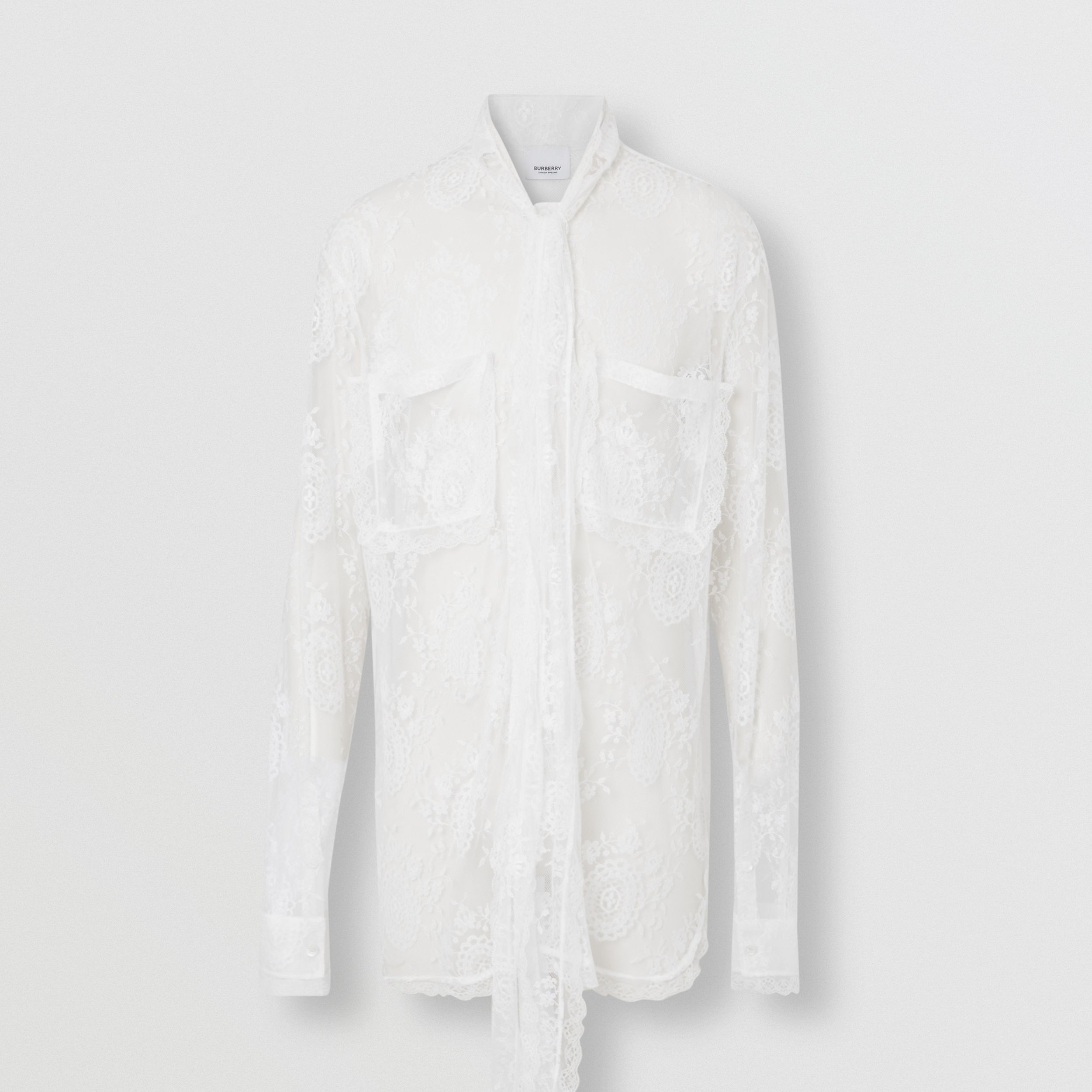 Chantilly Lace Oversized Tie-neck Shirt in Optic White - Men | Burberry - 4