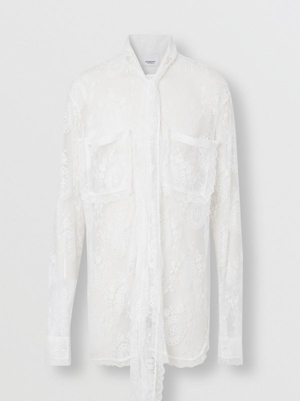 Chantilly Lace Oversized Tie-neck Shirt in Optic White | Burberry Australia - cell image 3